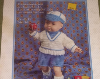 Vintage Crochet Boy Doll Outfit Pattern for 18 Inch Doll