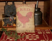 Prim printed Red Hen pillow tuck
