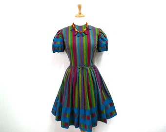 50s  Cotton Dress Norma Gini California Vintage 50s Striped Plaid summer Dress Small