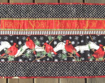 Cardinal Christmas Quilted Table Runner with Merry Joy Noel Peace black and white polka dots Handmade CIJ