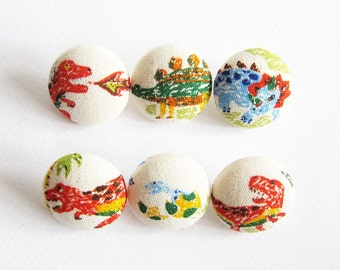 Sewing Buttons / Fabric Buttons - 6 Medium Fabric Buttons Set - Dinosaurs