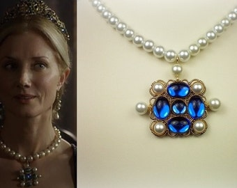 Catherine Parr Sapphire Pearl Necklace-n253