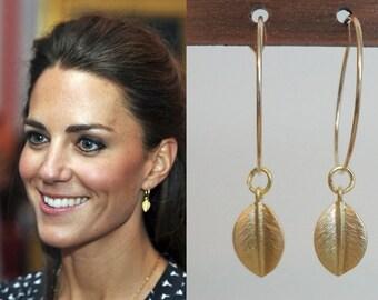 Kate Middleton Inspired Large Hoop Leaf Earrings (Gold)- e393