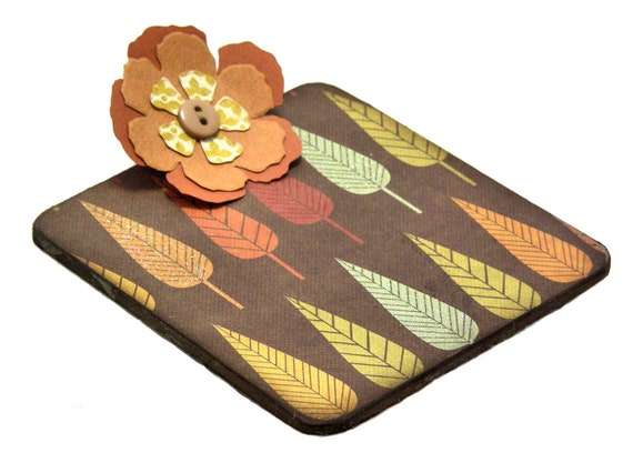 Harvest Leaves Post-it Note Mini Clipboard with pad, 2-sided, gold - orange - olive