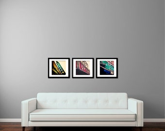 Chicago Print Set, Uptown Series, Chicago Photography -  emerald, golden, crimson, Urban Wall Art, Vintage Signs,  The Green Mill, Aragon