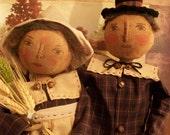 Primitive doll pattern only,adorable Pilgrim couple, by Dumplinragamuffin, AB4B