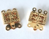 6 Gold Plated Art Deco Filligree Vintage Push Clasps// 3 Strand// New Old Stock// 6 Pieces