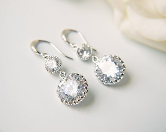 Crystal Silver Wedding Earrings Cubic Zirconia C Z  Round Brilliant Dangle Earrings