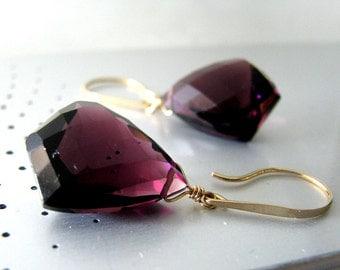 Deep Purple Earrings, Purple Amethyst Earrings, Gold Earrings,  Large, Amethyst Quartz AAA - Purple Passion