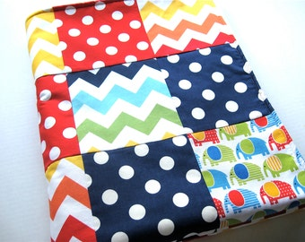 Patchwork Quilted Baby Blanket, Urban Zoologie Elephant's Primary - READY TO SHIP