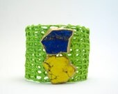 SALE - clearance - mesh cuff bracelet - bright green with magnesite - one size fits most