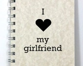 Girlfriend Notebook Journal Diary - I Heart My Girlfriend - Small Notebook 5.5 x 4.25 Inches - Light Tan Parchment