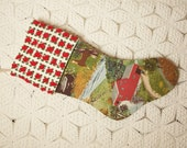 Grandma Moses 'Childhood Home' Vintage Barkcloth Stocking with Red Rosebud Vintage Chenille Cuff