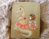 20% OFF Trex fairy fantasy art- Original Acrylic Lowbrow art painting - big eye dinosaur- pretty things cute