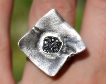 Statement organic sterling silver ring,handmade,galena crystal,rough stone,hammered band,size 7.