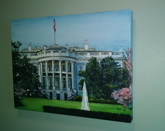 White House Original Oil Painting- 16x12in On Sale