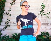 Dinosaur t shirt - womens - I Give Hugs  S M L XL  skip n whistle