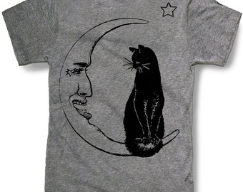 CAT IN MOON t shirt -- Halloween theme costume witch warlock gothic scary creepy spooky kooky -- sizes sm med lg xl xxl skip n whistle