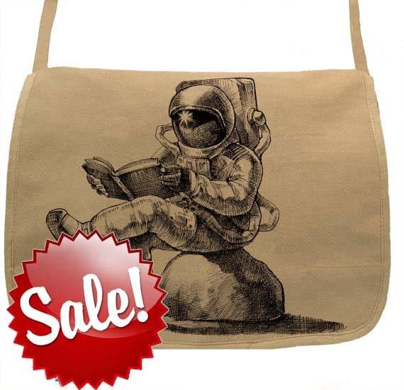 Astronaut reading book bag-- Canvas messenger bag -- large field bag -- adjustable strap skip n whistle