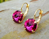 "Swarovski Small Rivoli Drop Earrings-Fuschia ""Hot Pink"" Gold Plated-Crystal Earrings Everyday Earrings Bridesmaid Gift Gift for Her"