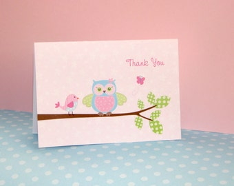 Owl and Bird Thank You Cards Aqua and Pink Baby Shower or Birthday