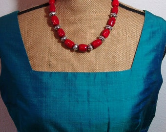 Natural AAA Quality Red Coral Branches, Silver Accents, Necklace and Earrings