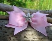 Starfish Mermaid Hair Bow Clip-PINK-Mermaid Birthday Party, Starfish Hair, Starfish Accessories, Beach Wedding, Nautical Wedding