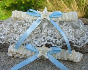 Beach Weddings,Beach Garter,Beach Bridal Garter,Bridal Garter Sets,Nautical Weddings,Something Blue,Nautical Garter,Mermaid Garters,Starfish