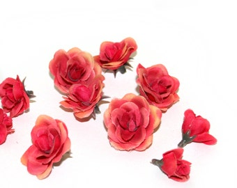 12 Tiny Ripest Peach Silk Roses - Artificial Flowers, Silk Roses PRE-ORDER
