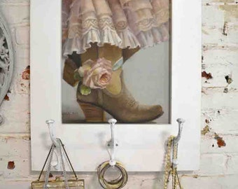 Painted Cottage Chic Shabby Romantic Rose Canvas Print HD66