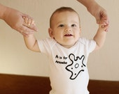 A is for ameoba screen printed alphabet one piece. NOT printed on Gerber brand onesies, we use boutique quality garments.