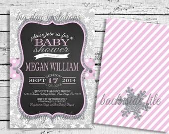 GIRL Winter Wonderland Baby Shower Invitation Snowflakes - Bright Modern - Printable Invite Snowflake 1st Birthday