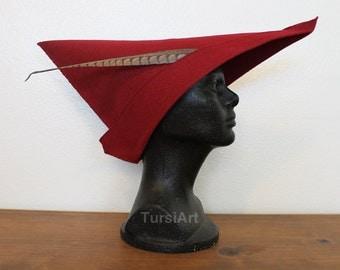 Scarlet Red Medieval Woodsman style felt hat - Prince Phillip Sleeping Beauty Cosplay Renaissance Faire Fair Costume Halloween Falconer