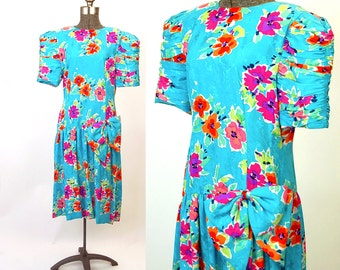 1980s dress, silk dress, floral dress, R&K dress, drop waist, bow at hip, turquoise pink