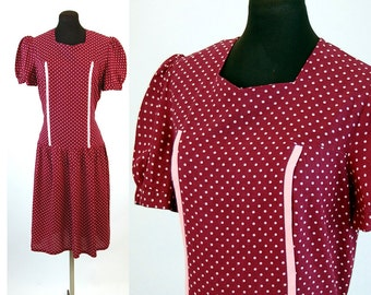 1940s dress 40s day dress polka dot dress cotton dress burgundy pink drop waist puffed sleeves, Size M