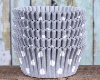 Gray Polka Dot Cupcake Liners, Gray Cupcake Wrappers, Wedding Cupcake Cases, Stay Bright Greaseproof Cupcake Liners, Gray Baking Cups (50)