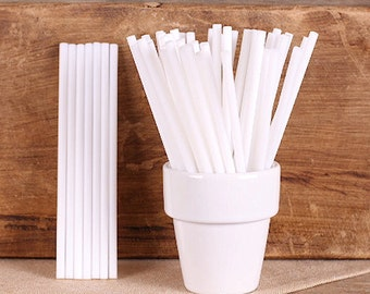 "White Lollipop Sticks, Plastic Small White Cake Pop Sticks, White Pop Sticks, Wedding Cake Pop Sticks, Plastic Lollipop Sticks (4.5"" - 50ct)"
