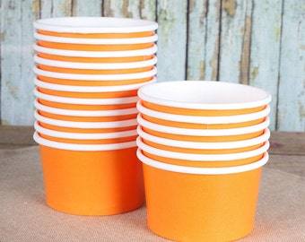 Small Orange Ice Cream Cups, Orange Ice Cream Bowls, Sundae Cups, Ice Cream Party Cups, Dessert Cups, 4oz Paper Ice Cream Cups (18)