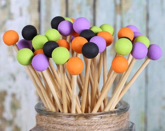 Halloween Fun Lollipop Sticks, Rock Candy Sticks, Cake Pops Sticks, Candy Kabob Sticks, Halloween Cake Pop Sticks, Wooden Sticks (12)