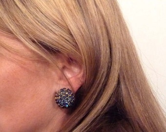 Sapphire & Gold Clip-on 1980s Earrings