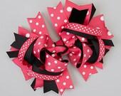 Hot Pink Polka Dot Med Bow