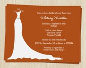 Fall Bridal Shower Invitations, White Wedding Dress, Set of 10 Printed Cards, FREE Ship, SGACO, Simple Gown Autumn Collection Burnt Orange