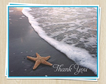 Beach Bridal Shower Thank You Cards, Starfish, Turquoise, White, Set of 24 Wedding Notes with Envelopes, FREE Ship, STARB, Starfish Beach