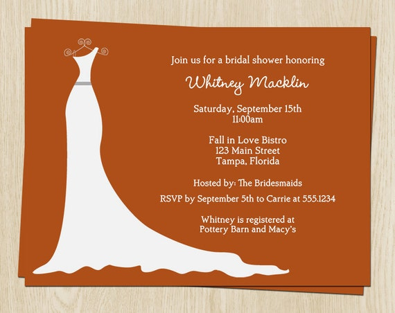 Fall bridal shower invitations white wedding dress set of 10 for Wedding dress bridal shower invitations