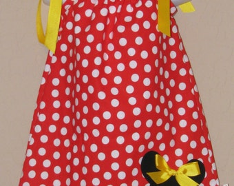 Disney Traditional Minnie Mouse Inspired Baby Toddler Dress - Pillowcase Dress - Brother Shirt Available -Great for Disney Trips, Birthdays