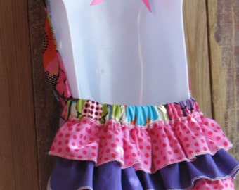 Ruffled Butt Romper Halter Sunsuit - Summer Blooms- Baby Toddler Girl - Ruffle Bottom Booty- Perfect for Spring Summer - Pink Lime White