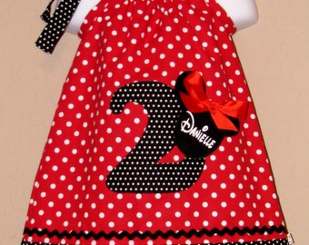 CUSTOM Disney Minnie Mouse Inspired Baby Toddler Dress - A-line Pillowcase Dress- Red White Dots - Great for Disney Trips and Birthdays