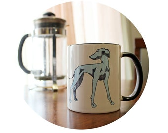 Dog Lover Coffee Mug, Italian Greyhound Sublimated on a 11 ounce Coffee Cup, Standard Mug, Hot Beverage Glass, Ceramic Cup, Blue Grey Hound