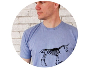 Mens Tshirt, Unicorn Skeleton in Stormy Blue or custom colors, Short  Sleeved, Soft Cotton Crewneck Tshirt, Hand Printed Clothing, Mens Gift
