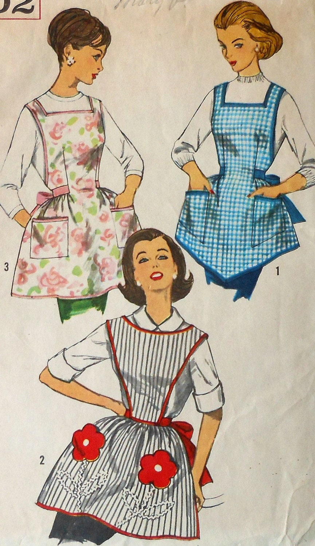 Vintage Apron Sewing Pattern Simplicity 3702 One Yard Bib